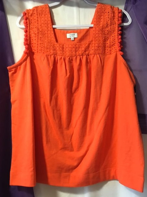 Ladies Size Large Orange Sleeveless Top