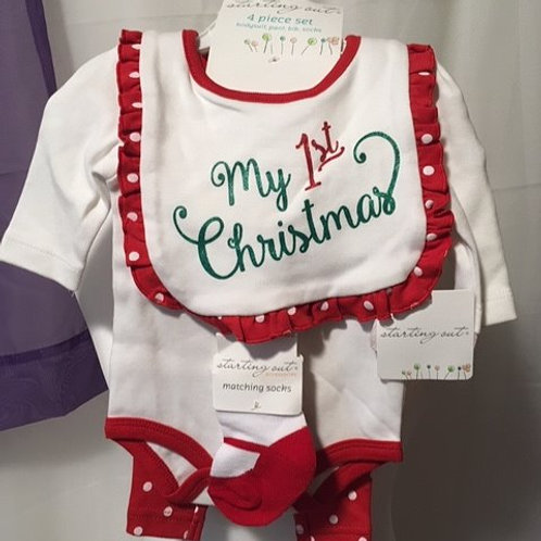 Baby Girls Size NB 4 Piece Christmas Set