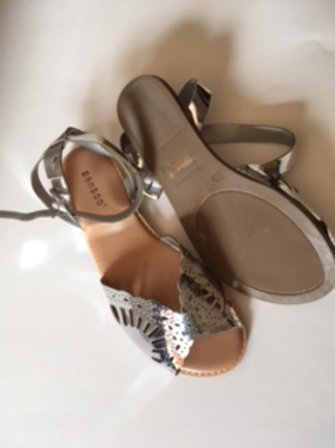 Ladies Silver Ankle Buckle Strap Sandals