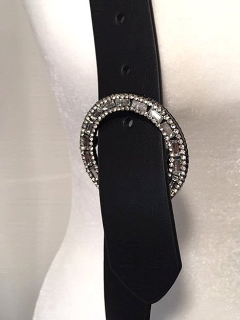 Womens Black Jeweled Vegan Leather Catherine's Belt