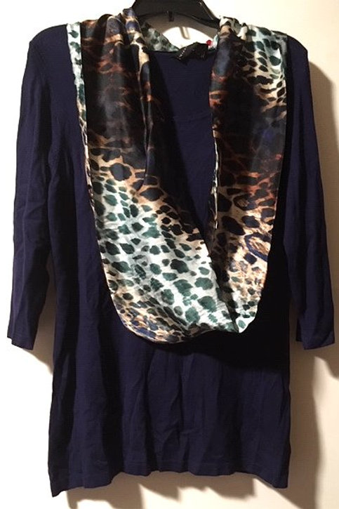 Ladies Size Large Navy Blue Quarter Sleeve Top & Scarf