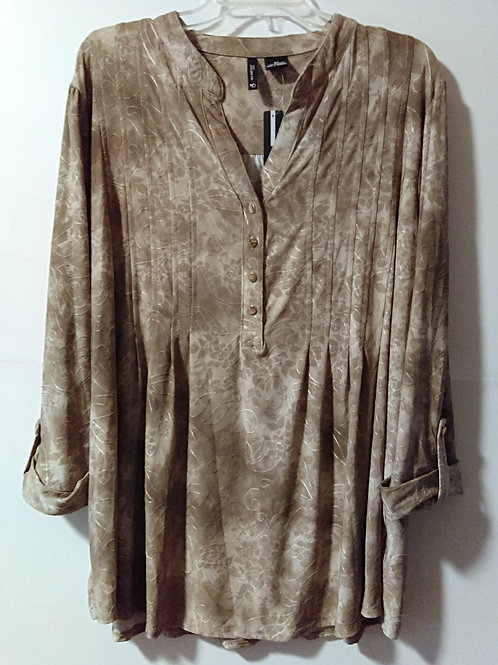 Womens Size 3X Taupe Quarter Sleeve Top