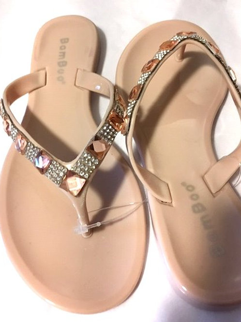 Toddler Girls Size 10 Taupe Rhinestone Accent Bamboo Sandles