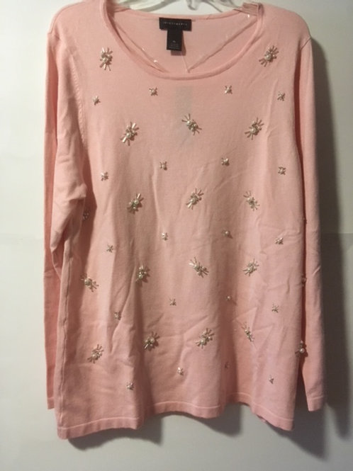 Ladies Investments X-Large Pink Jewel Sweater Top