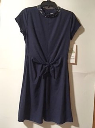 Girls Size 14 Navy Sequined Collar Dress