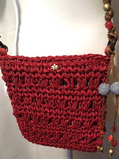 Ladies Cappelli Rust Beaded Toyo Braided Shoulder Strap Purse