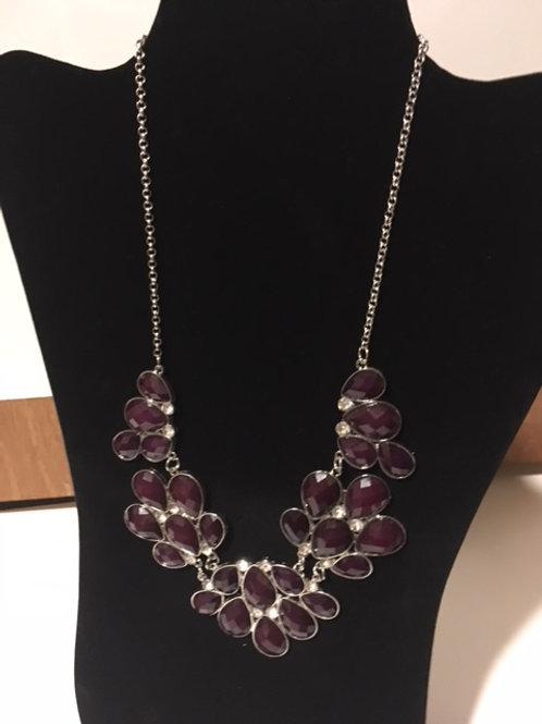 Ladies Silver Purple Rhinestone Necklace
