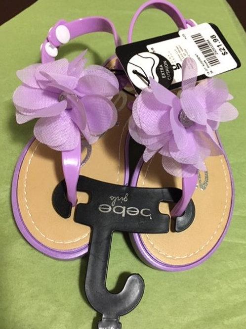 Girls Size 11 - 12 Purple Flower Bebe Sandals