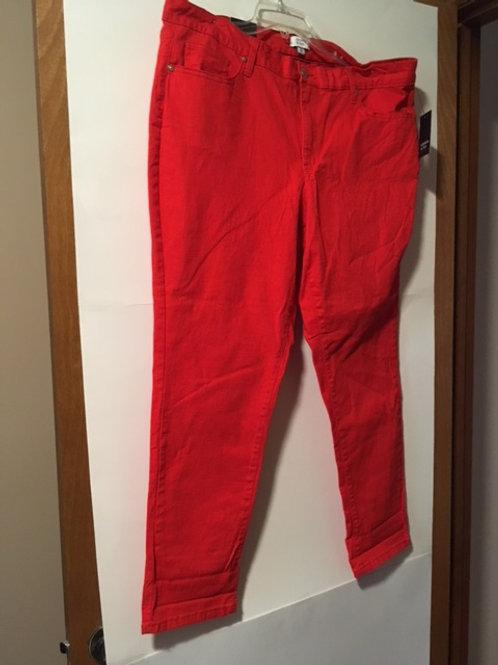 Ladies Size 16 Crown & Ivy Red Jean Pant