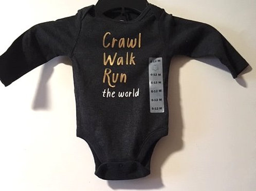 Baby Girls Size 6 - 12 Month Gray Long Sleeve Onesie