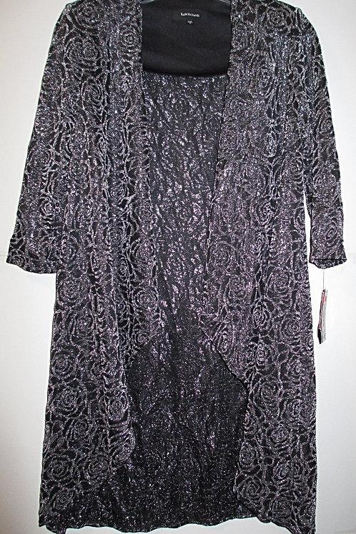 Ladies Size 8 Black Metallic R & M Richards Special Occasion Jacket