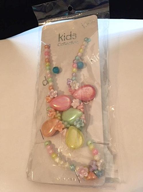 Girls Pastel Heart Flower Jewelry Set