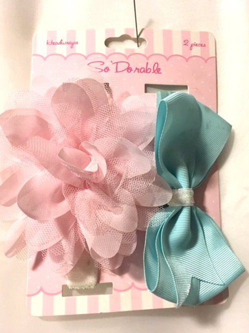 Girls Pink & Blue Headband Set