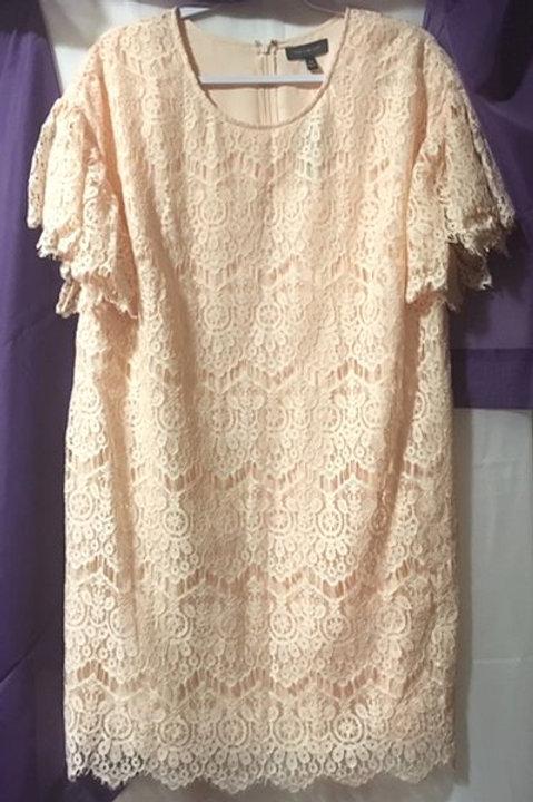 Women's Size 14 W Light Peach Lace Dress