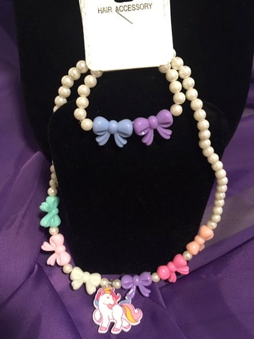 Girls Stretch Unicorn Necklace & Bracelet Set