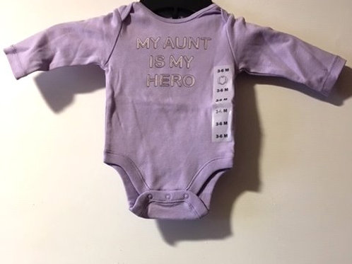 BabyGirl Size 3 - 6 Month Purple Long Sleeve Onesie