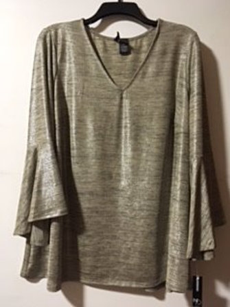 Womens Size 2X Shiny Bell Sleeve Top