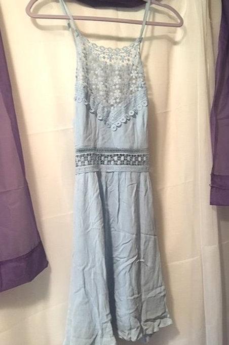 Juniors Size Medium Sky Blue Spaghetti Strap Dress