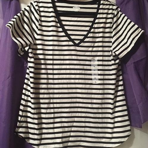 Juniors Size X-Large Black White Stripe Top