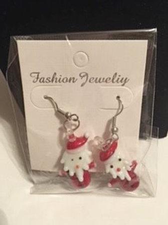 Ladies Christmas Santa Pierced Earrings