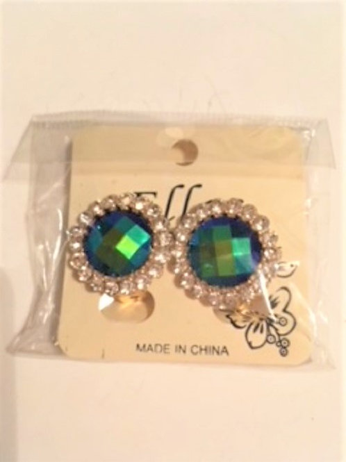 Ladies Iredescent Blue Green Clip Earrings