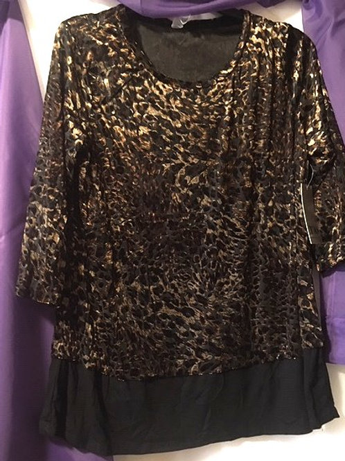 Ladies Black Brown Animal Print Quarter Sleeve Top