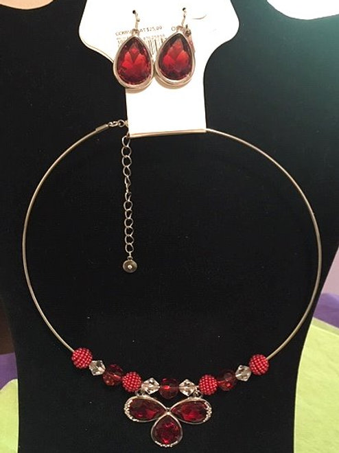 Ladies Silver Red Solid Round Necklace Pierced Earring Set