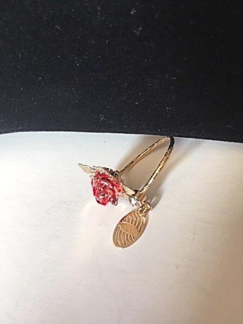 Ladies Gold Pink Rose Ring