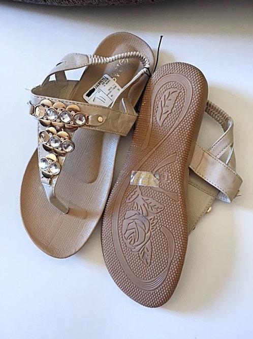 Ladies Cream With Rhinestones Sandals