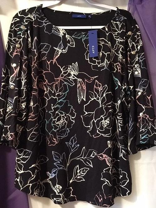Ladies Size XL Black Multi Color Quarter Length Sleeve Top