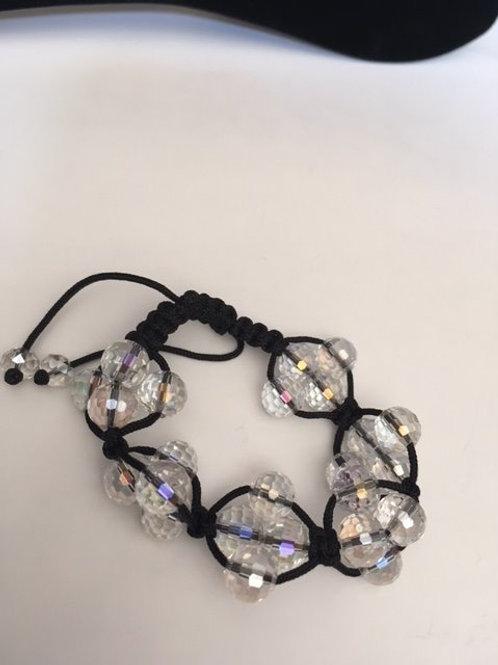 Ladies Black With Iridescent Beads Adjustable Bracelet