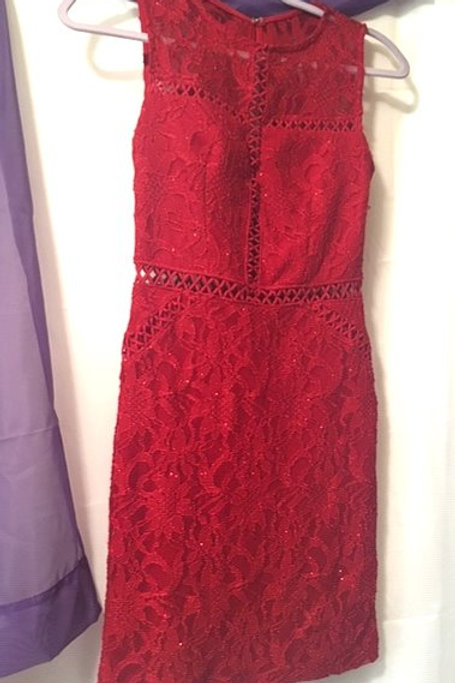 Juniors Size 1 Red Lace Sleeveless Special Occasion Dress