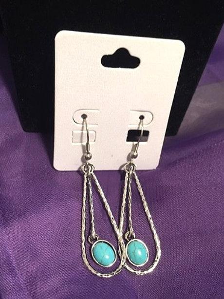 Ladies Silver Turquoise Dangling Pierced Earrings