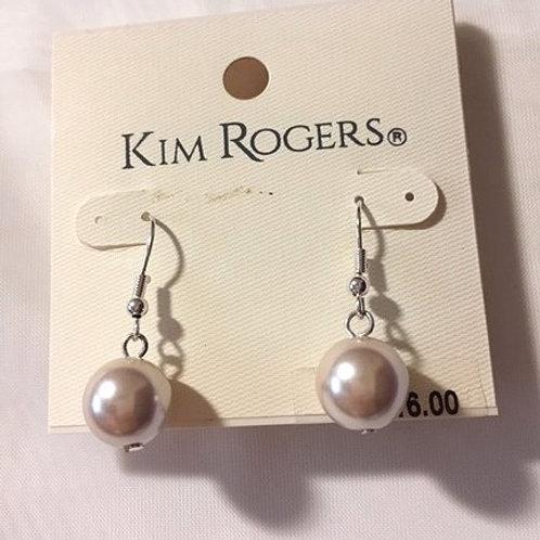 Ladies Cream Pearl Orb Dangling Pierced Earrings