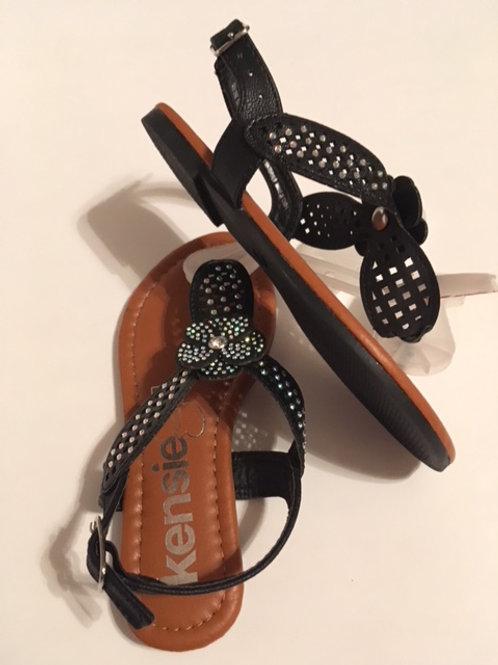 Girls Size 11 Black Sequin Sandals by Kelsie Girl