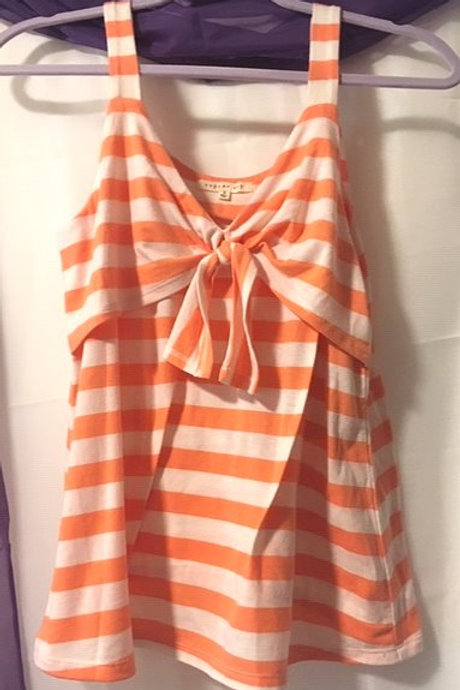 Juniors Size Small Orange Stripe Shoulder Strap Top