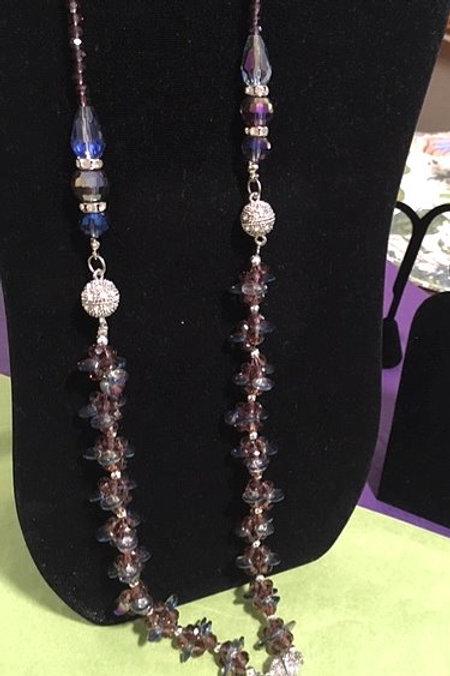 Ladies Long Silver Purple Necklace & Pierced Earrings Set