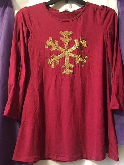 Girls Size 10 Burgandy Gold Sequin Snowflake Dress