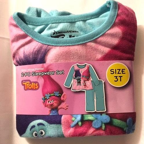 Toddler Girls Size 3T Trolls Flannel Sleepwear Set
