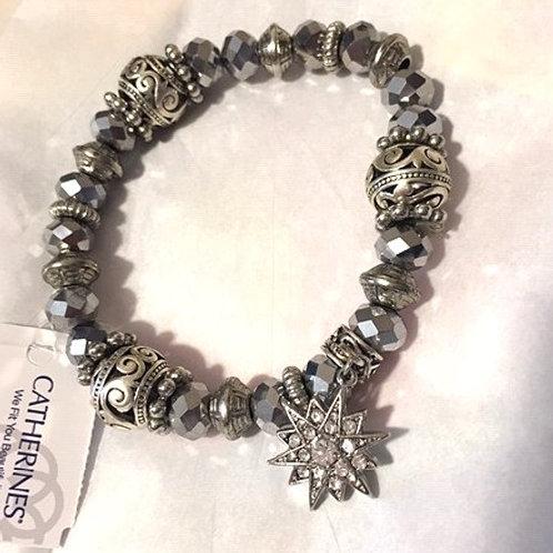 Women's Silver Stretch Charm Bracelet