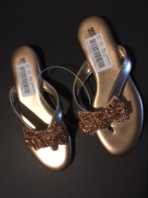 Girls Size 13 Gold Sequin Bow Sandals by Michael Kors