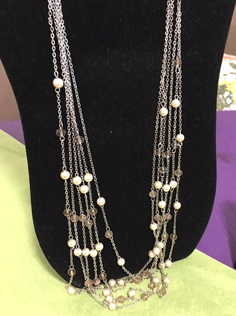 Ladies Silver Taupe Beads Necklace & Pierced Earrings Set