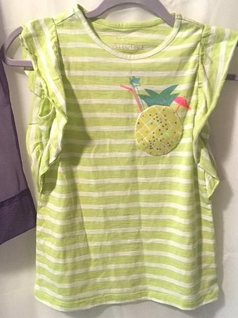 Girls Lime Green Stripe Ruffled Sleeve Top