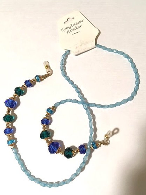 Blue & Green Rhinestone Beaded Eyeglasses Holder