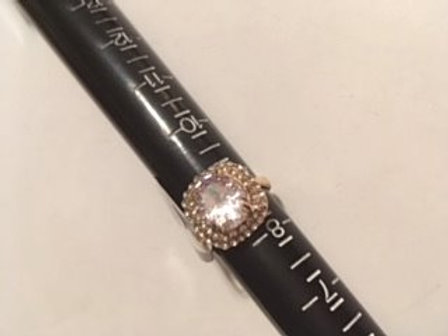 Ladies Size 8 1/2 Gold Clear Rhinestone Ring