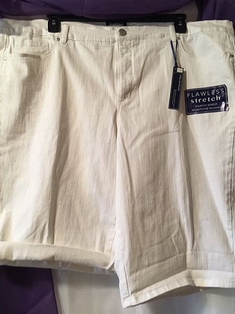 Women's White Stretch Bermuda Shorts
