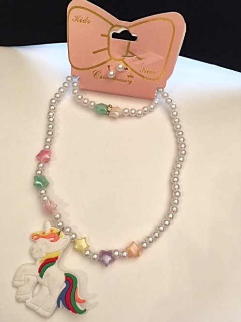 Girls White Bead Unicorn Pendant Jewelry Set