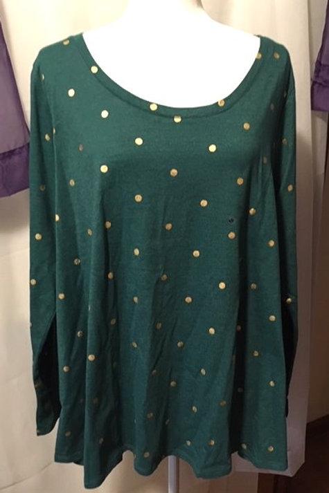 Women's Size 2X 18 - 20 Green Long Sleeve Top Lane Bryant
