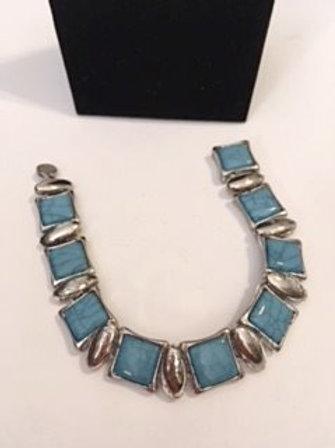 Ladies Silver Turquoise Look Bracelet