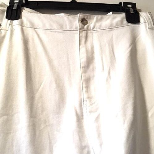 Womens Size 32W White Stretch Capris